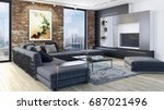 modern bright living room ...   Shutterstock . vector #687021496