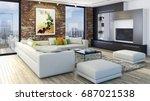 modern bright living room ... | Shutterstock . vector #687021538
