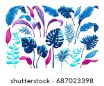 tropical palm leaves. set of... | Shutterstock .eps vector #687023398