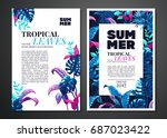 tropical palm leaves background.... | Shutterstock .eps vector #687023422