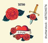 tattoo set. isolated tattoo... | Shutterstock .eps vector #687024076