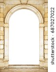 ancient arch doorway on a white ...   Shutterstock . vector #687027022