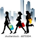 shopping girls. urban... | Shutterstock .eps vector #6870304