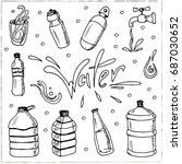 water. set with bottles. vector ... | Shutterstock .eps vector #687030652