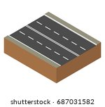 road element. two lane road.... | Shutterstock .eps vector #687031582