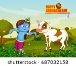 kanha with cow on krishna... | Shutterstock .eps vector #687032158