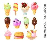 funny ice cream background.... | Shutterstock .eps vector #687032998