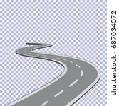 curved road with white lines.... | Shutterstock .eps vector #687034072