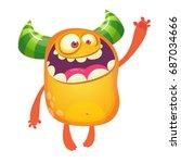 cartoon monster. orange monster ... | Shutterstock .eps vector #687034666