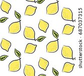 lemon line colored doodle...   Shutterstock .eps vector #687037315