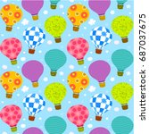hot air balloons with cute... | Shutterstock .eps vector #687037675