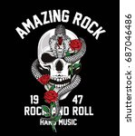 rock and roll graphic design... | Shutterstock .eps vector #687046486