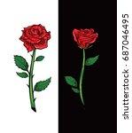 red rose cartoon style on white ... | Shutterstock .eps vector #687046495