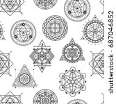 seamless vector pattern with... | Shutterstock .eps vector #687046852