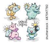 set of four cartoon animals... | Shutterstock .eps vector #687047782