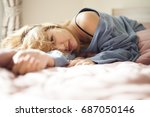 concept  happy waking up.female ... | Shutterstock . vector #687050146