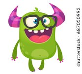 Cartoon Green Monster Nerd...