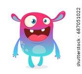 cool cartoon alien. purple and... | Shutterstock .eps vector #687051022