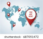pin icon with map background... | Shutterstock .eps vector #687051472