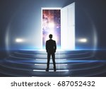 back view of young businessman... | Shutterstock . vector #687052432