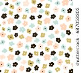 floral seamless pattern with... | Shutterstock .eps vector #687053302