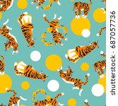 vector seamless pattern with... | Shutterstock .eps vector #687057736