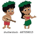 hawaiian boy playing ukelele... | Shutterstock .eps vector #687058015