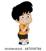 kid fear.vector and... | Shutterstock .eps vector #687058786