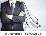 businessman with drawn cape on... | Shutterstock . vector #687062626