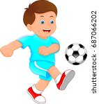 cute little boy soccer player | Shutterstock .eps vector #687066202