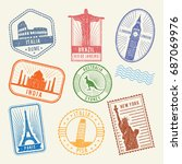 postal stamps with famous world ... | Shutterstock .eps vector #687069976