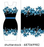 blue lilies print design for... | Shutterstock .eps vector #687069982