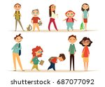 school characters set. cartoon... | Shutterstock .eps vector #687077092