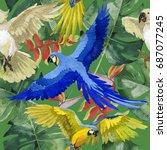 sky bird parrot pattern in a...   Shutterstock . vector #687077245