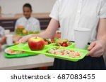Stock photo girl holding tray with delicious food in school canteen closeup 687083455