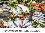 Fresh Raw Seafoods On Counter...
