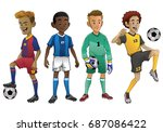 set of young soccer players | Shutterstock .eps vector #687086422