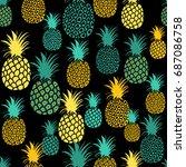 pineapple seamless pattern.... | Shutterstock .eps vector #687086758