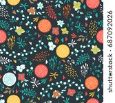 floral seamless pattern with... | Shutterstock .eps vector #687092026