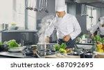 famous chef of a big restaurant ...   Shutterstock . vector #687092695