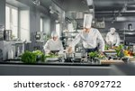 famous chef works in a big... | Shutterstock . vector #687092722