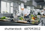 famous chef works in a big...   Shutterstock . vector #687092812