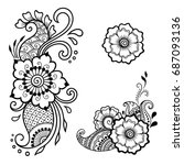 set of mehndi flower pattern... | Shutterstock .eps vector #687093136