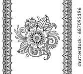 henna tattoo flower template...   Shutterstock .eps vector #687093196