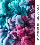 color drop in water. abstract... | Shutterstock . vector #687097216