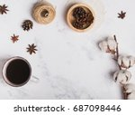 coffee  cotton branch and other ...   Shutterstock . vector #687098446