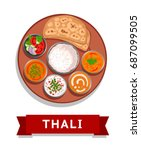 thali. indian national dish.... | Shutterstock .eps vector #687099505