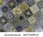 colorful tile mosaic background | Shutterstock . vector #687100912