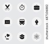 set of 9 editable knowledge... | Shutterstock .eps vector #687106882