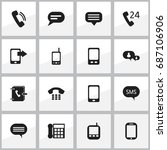 set of 16 editable device icons.... | Shutterstock .eps vector #687106906